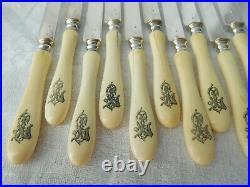 12 couteaux à fruits, lame en ARGENT MASSIF poinçon MINERVE, époque Napoléon III