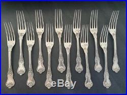 12 fourchettes en argent massif armoriées orfèvre Hénin & cie poinçon Minerve
