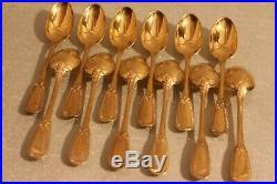 12 petites cuillères à moka style Empire Argent Vermeil poinçon Minerve