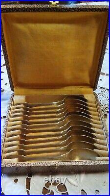 12 petites cuillères en Argent Massif, poinçon vieillard 1819-1838