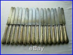 16 couteaux XIXème, argent, lame acier fondu, blason, monogramme BG, poinçon