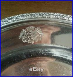 1er EMPIRE, plat armoiries, argent massif. 880 Gr, poinçon 1er Coq, 1809-1819