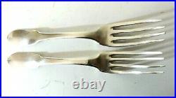 2 Fourchettes Uni-plat Argent massif Poinçon 1er coq Tête de Vieillard