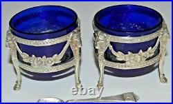 2 SALIERES de TABLE EMPIRE ARGENT poinçon Minerve Verrines Cristal Bleu Vitrine