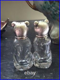 2 Saliere Ourson Silber Bär Oso Bear Silver Salt Shaker Argent Poinçon Verre