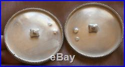 2 coupelles d' huilier vinaigrier argent massif poinçon Vieillard Frise perles