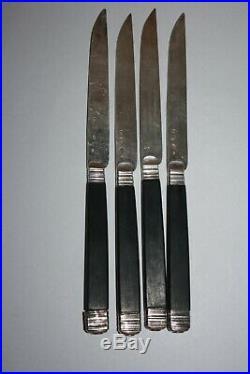 4 couteaux Lames Argent Massif Poinçon Coq 1er Empire Currat Couteau du Roi