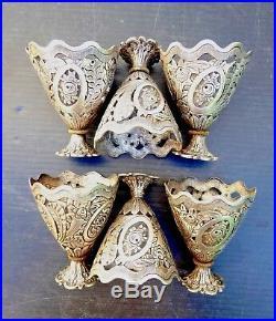 6 Zarfs, Porte Tasses Argent, Turquie Ottomane XIXe, Poinçons, 33