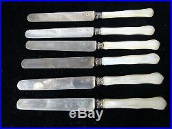 6 couteaux à fruits manches nacre et lames argent massif poincon Minerve