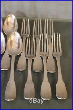 6 cuillères 6 fourchettes monogrammées argent massif début 19e poinçons au coq