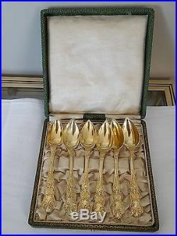 6 petites cuillères en vermeil poinçon vieillard minerve 20659