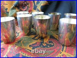 8 anciens petits gobelets godets en argent massif 835 poincon etranger