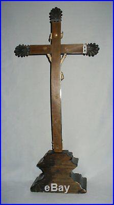 ANCIEN Grand Crucifix En Argent Massif Christ En Croix Poinçon Tête De Vieillard