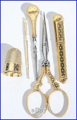 ARGENT massif VERMEIL Ancien nécessaire de couture XIXe poinçon sewing Ciseaux