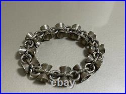 Ancien Bracelet Argent Massif Diabolo Design Année 1950 Poinçon Sanglier Depose