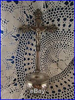 Ancien benitier christ crucifix en argent massif poincon vieillard XIXe jesus