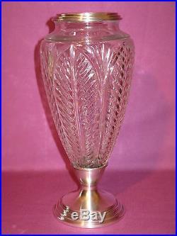 Ancien vase en cristal et argent massif poinçon minerve époque XIX siècle