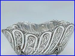 Ancienne Jardinière De Table Argent Massif 18ème Décor Floral Poinçon Old Silver