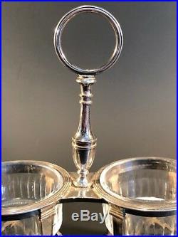 Ancienne Paire De Salerons Argent Massif Et Cristal Poinçon Minerve 360g