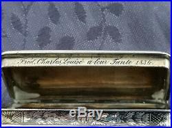 Argent Massif XIX Boite Tabatiere Nielle Poincon Vieillard 1838