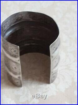 BIJOU ETHNIQUE JONC LONG OUVERT ARGENT TUNISIE 89 gr poinçon (tête) 7.5cm