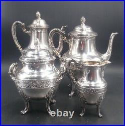 Beau Service The Cafe 4 Pcs Argent Massif Poincon Minerve 1 Er Titre Louis XVI