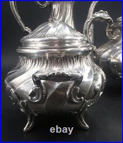 Beau Service The Cafe 4 Pieces En Argent Massif Poincon Minerve Decor Louis XV