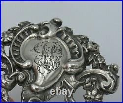 Beau porte menu argent poinçon au sanglier de style Louis XV/Rocaille monogramme