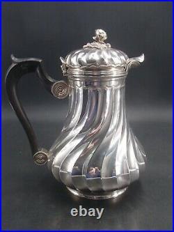 Belle Cafetiere En Argent Poincon Minerve 1 Er Titre Decor Louis XV Graine Fleur