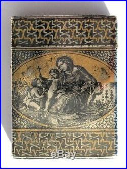 Boite en argent massif Dessin scène religieux époque 19e poinçon minerve