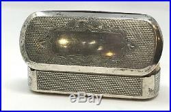 Boîte tabatière XIXe argent vermeil massif Allemagne poinçons 2,5 x 8 cm