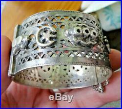 Bracelet ARGENT massif poinçonné tete de Maure berbere 81 gr tunisie aurés maroc