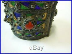 Bracelet Berbère MAROC AFRIQUE DU NORD argent poinçon / émail et corail