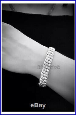 Bracelet Maille Américaine Large Argent Massif 925/1000 Rhodié Poinçonné