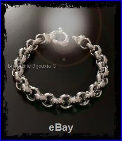 Bracelet Maille JASERON Rhodié Argent Massif 925/1000 Poinçonné Bijoux Femme