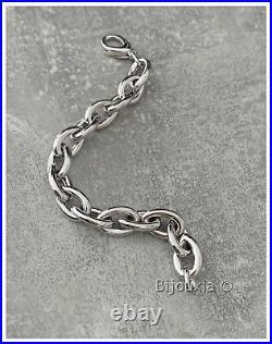 Bracelet Maillons Larges Argent Massif 925/1000 Rhodié Poinçonné Bijoux Femme