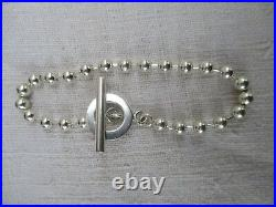 Bracelet en Argent GUCCI, Chaine de boules, argent massif poinçonné, fermoir T