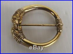 Broche Argent Massif Vermeil, poinçon Crabe. XIXe siècle. Têtes de Lions Perses