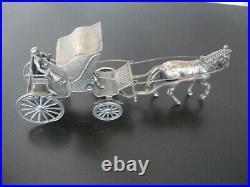 Caléche Phaéton en argent massif 110 grammes poinçons anglais voiture à cheval