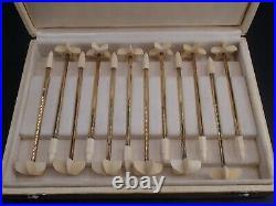 Cardeilhac Rare Suite 12 Moussoirs Chamapgne Vermeil Poincon Sanglier Coffret