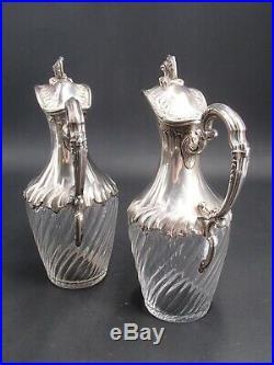 Caron Paire Carafes Aiguieres Argent Massif Cristal Poincon Minerve Mod. Louis XV