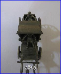 Carrosse miniature Phaéton en argent massif 112 grammes poinçons Attelage Cheval
