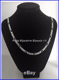 Chaîne Maille Figaro 70CM x 6MM Argent Massif 925/1000 Bijoux Homme Poinçonné