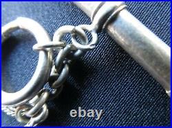 Chatelaine ancienne chaîne de montre à gousset en argent poinçon sanglier 49 Grs