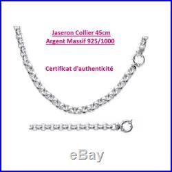 Collier Maille Jaseron Épais Argent Massif 925/1000 Bijoux Femme Poinçonné