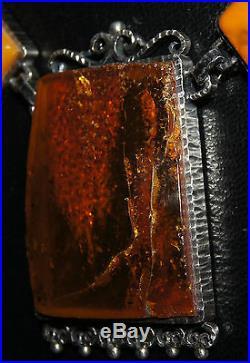 Collier ancien en argent massif 800 et ambre poinçon Polonais