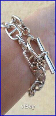 Collier où Bracelet double en argent massif maille marine poids 69 gr poinçonné