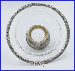 Compotier / Coupe sur pied en argent massif poinçon Minerve et cristal taillé