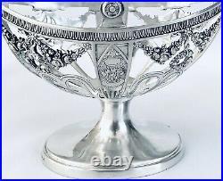 Coupe / Panier En Argent Massif Poinçon 800 Décore De Guirlandes De Roses XIX
