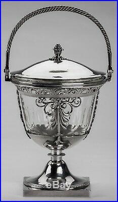 DRAGEOIR POINÇON 1er COQ ARGENT MASSIF & CRISTAL PARIS 1798 SUCRIER DRAGEOIR